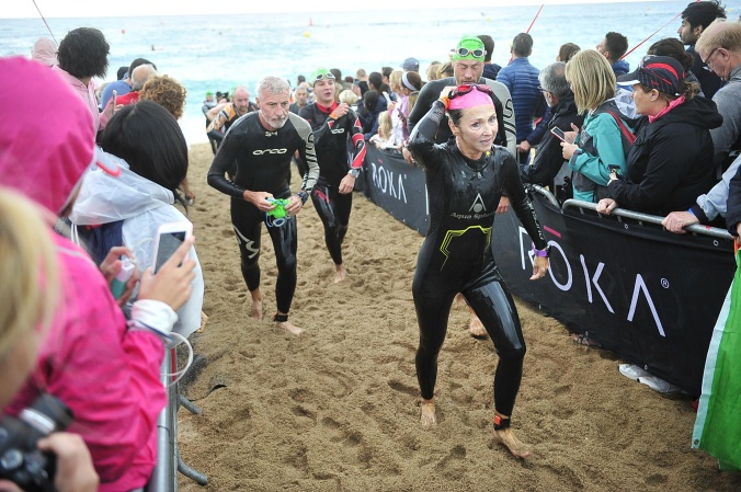 Fiona Bugler coming out of the swim at Ironman Barcelona